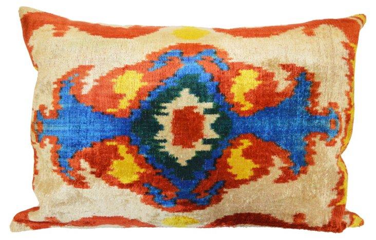 Ikat 16x24 Silk-Blend Pillow, Multi