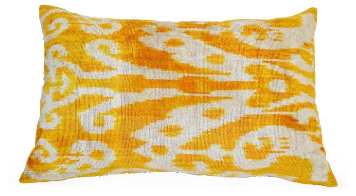 Ikat 16x24 Silk Velvet Pillow, Yellow