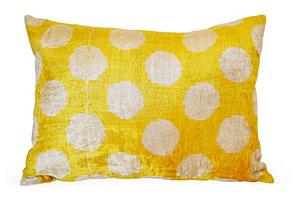 Dot 16x24 Silk-Blended Pillow, Yellow