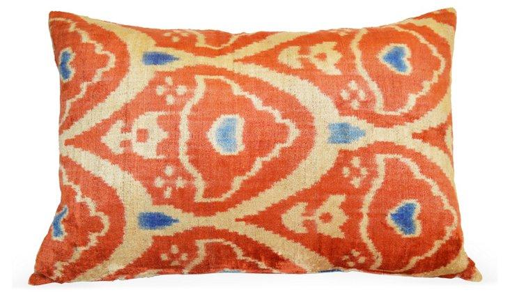 Konya 16x24 Silk-Blend Pillow, Coral