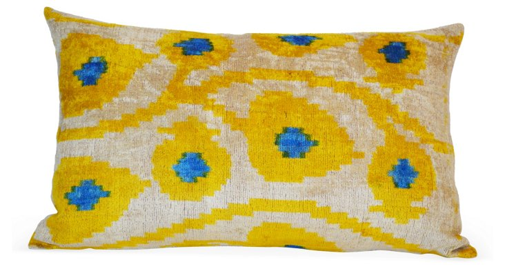 Ikat 16x24 Silk-Blended Pillow, Yellow
