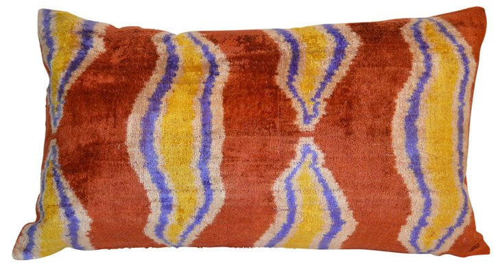 Dilara 16x24 Silk-Blend Pillow, Brown
