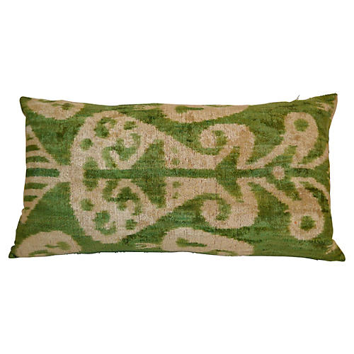 Fika 16x24 Silk-Blend Pillow, Green