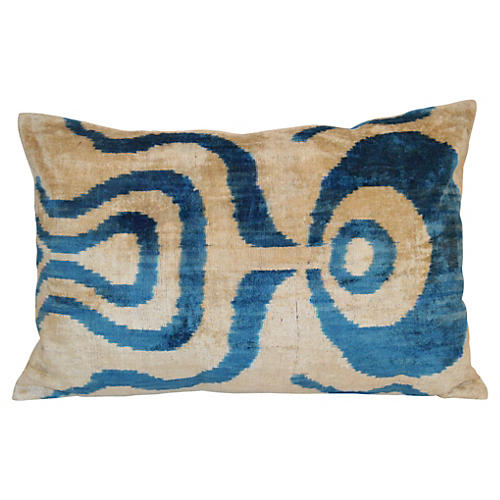 Maya 16x24 Silk-Blend Pillow, Blue
