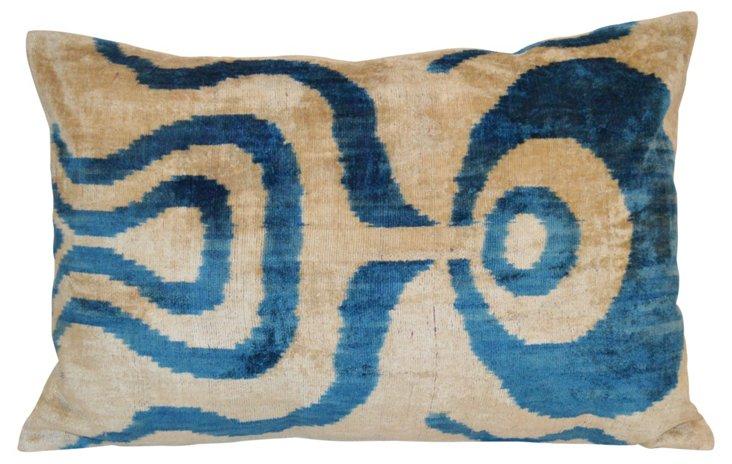 Maya 16x24 Silk-Blend Pillow, Blue