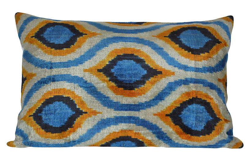 Alberta 16x24 Silk Pillow, Blue