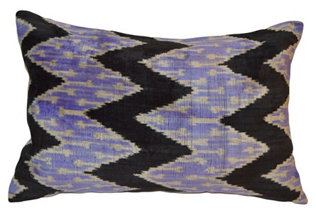 Meral 16x24 Ikat Pillow, Purple