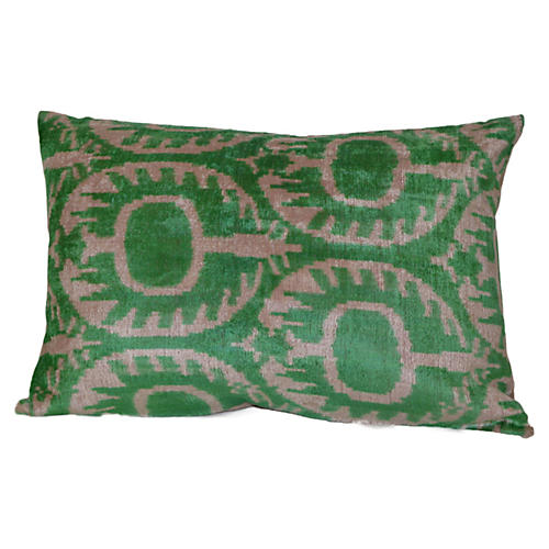 Agatha 16x24 Ikat Pillow, Green
