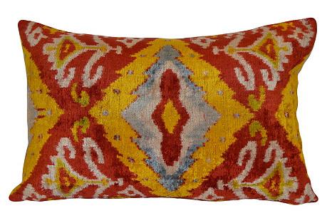 Maura Ikat 16x24 Pillow, Red