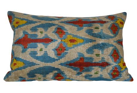 Ena Ikat 16x24 Pillow, Blue