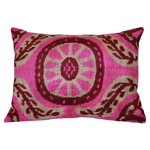 Ines Ikat 16x24 Pillow, Pink
