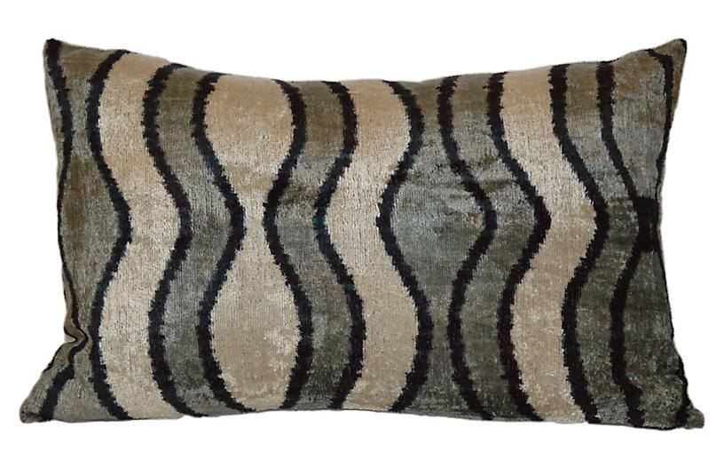 Natasha Ikat 16x24 Pillow, Black