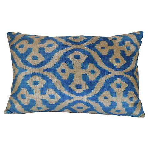 Poma Ikat 16x24 Pillow, Blue