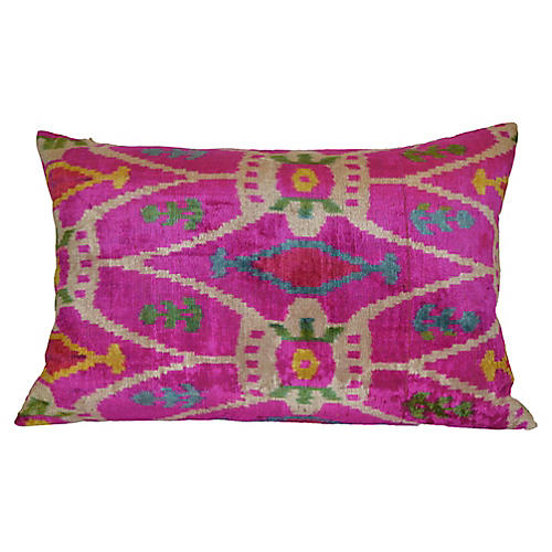 Livia Ikat 16x24 Pillow, Pink