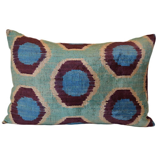 Iza Ikat 16x24 Pillow, Blue