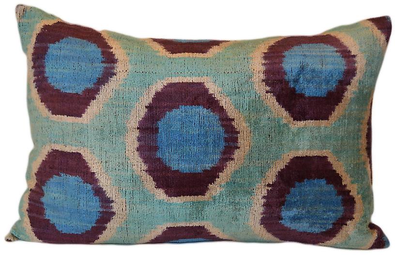 Iza Ikat 16x24 Pillow, Blue
