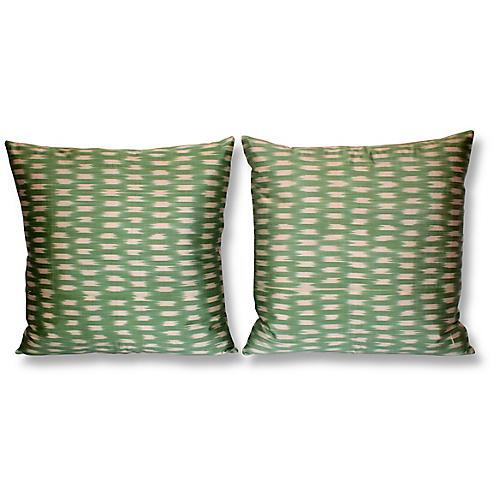 S/2 Lily 18x18 Ikat Pillows, Green/Multi