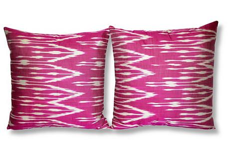 S/2 Dona 18x18 Ikat Pillows, Plum/Multi