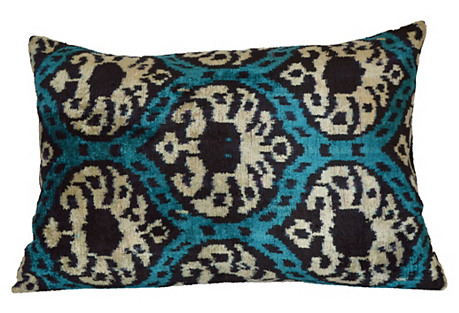 Taisa 16x23 Silk Velvet Pillow, Teal