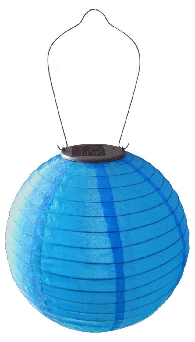 """10"""" Solar Round Lantern, Blue"""