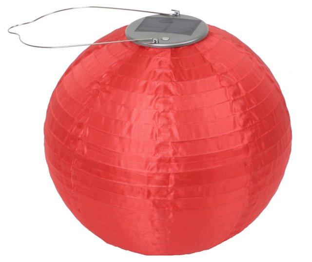 """10"""" Solar Round Lantern, Red"""