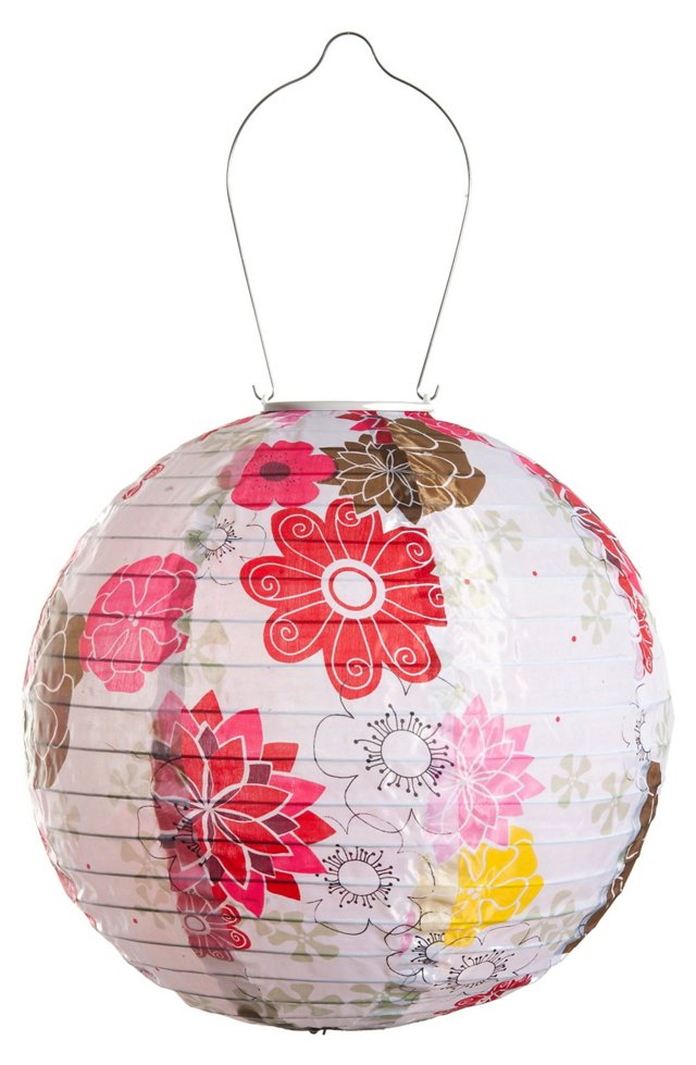 "12"" Solar Floral Bloom Lantern, Pink"