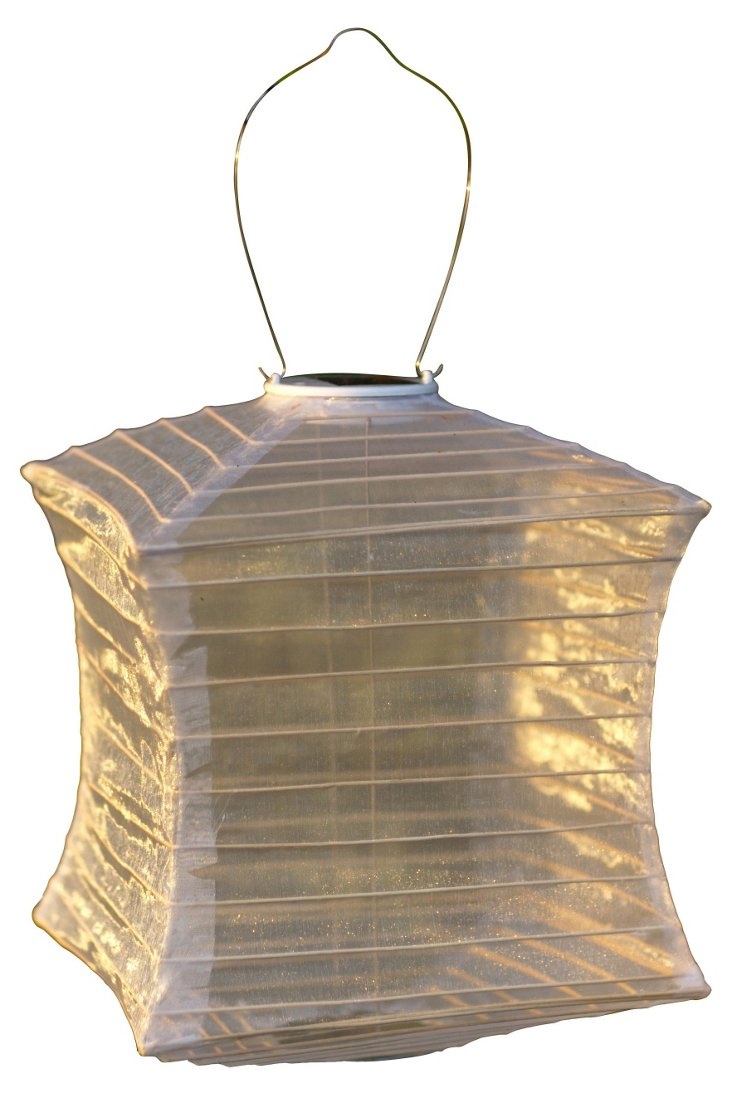 "S/3 12"" Solar-Powered Lanterns, Pearl"
