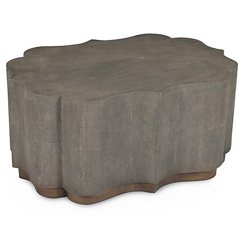 Sutton Faux-Shagreen Coffee Table, Gray