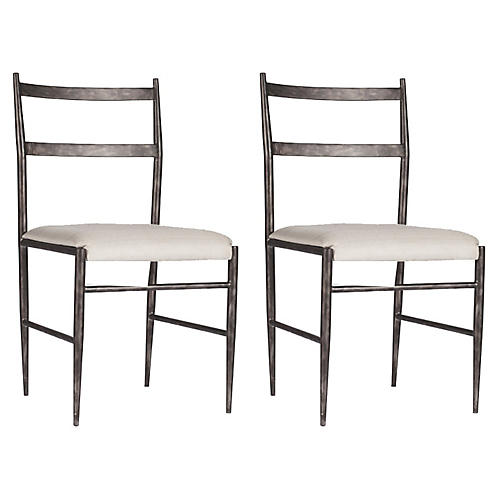 Ward White Side Chairs, Pair
