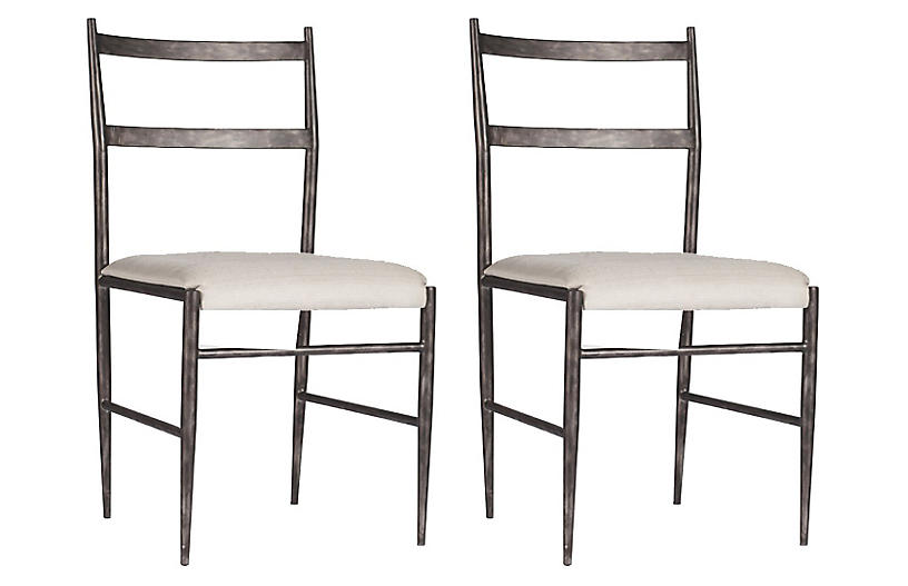 S/2 Ward Side Chairs, White