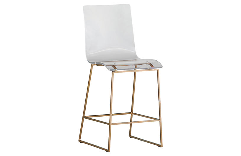 King Acrylic Counter Stool, Gold