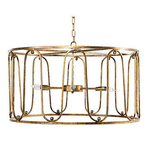 Harvey Chandelier, Antiqued Gold