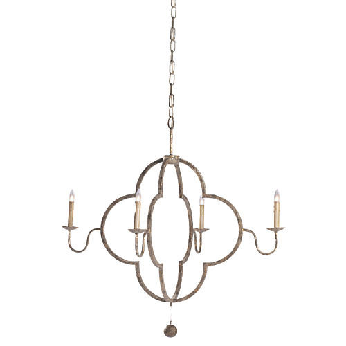 Lewis Chandelier, Distressed Gold