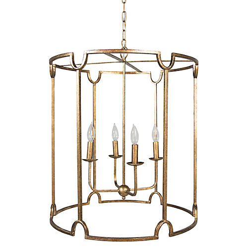 Stella 4-Light Pendant, Antiqued Gold