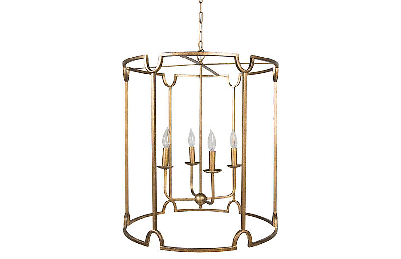Stella 4-Light Pendant, Antiqued Gold