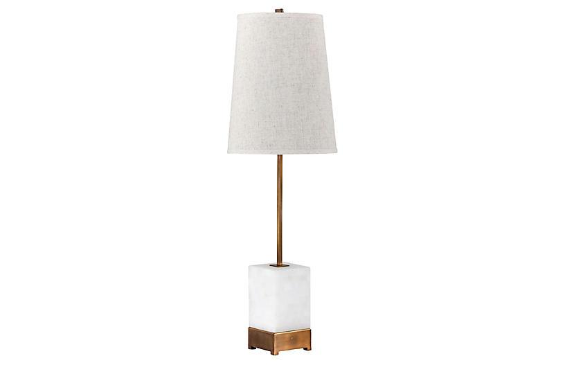 Geneva Table Lamp, Antiqued Brass