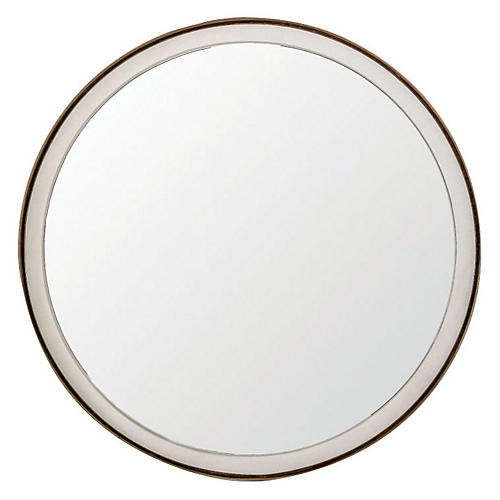 "Fritz 36"" Wall Mirror, White/Brass"