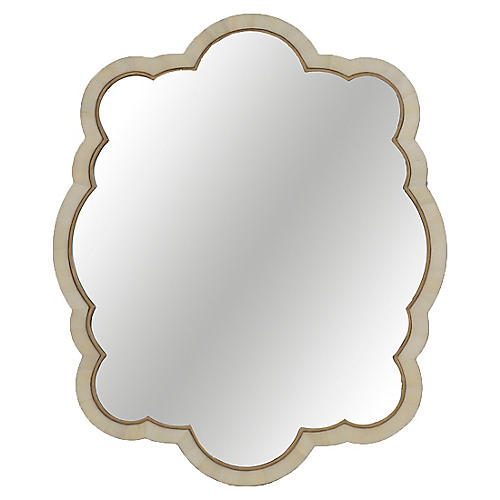 "Rita 32""x39"" Wall Mirror, Beige/Antiqued Gold"