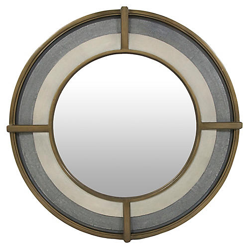 Zola Faux-Shagreen Wall Mirror, Gray