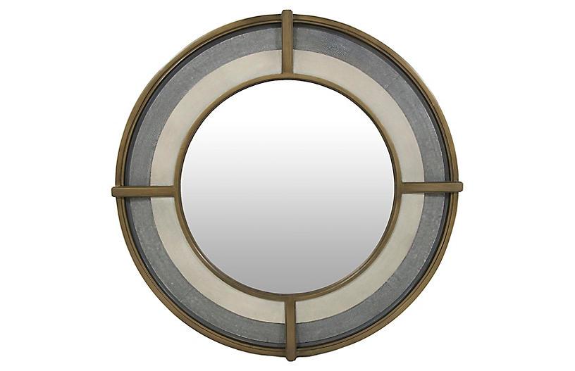 Zola Faux-Shagreen Wall Mirror, Gray