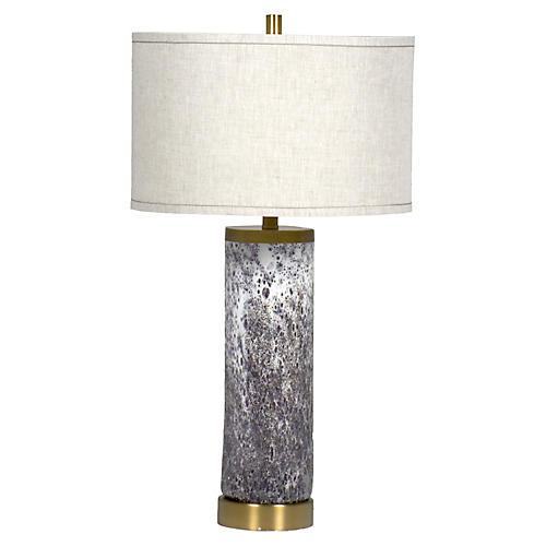 Laura Table Lamp, Textured Purple/White
