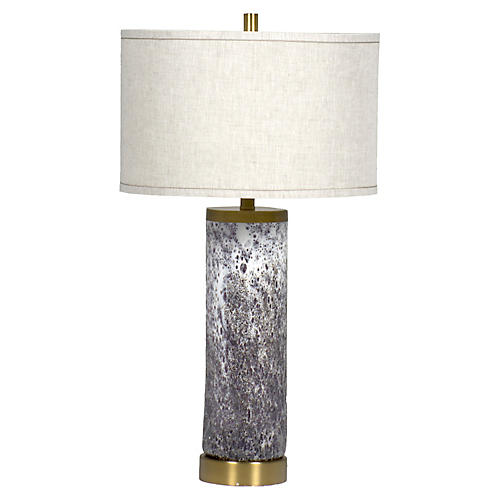 Laura Table Lamp, Textured Purple/White