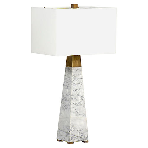 Teagan Marble Table Lamp, White/Gild