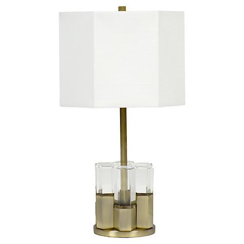 Elise Crystal Table Lamp, Clear/Brass