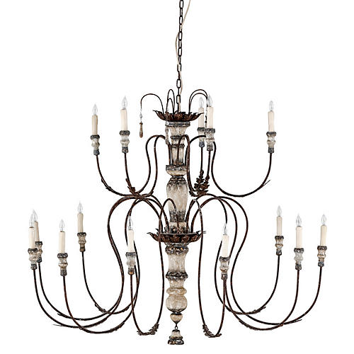 Josephine Chandelier, Silver/Dappled Cream