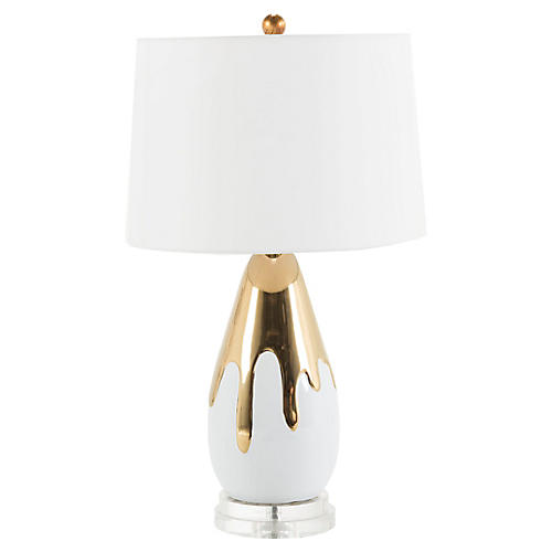 Hattie Table Lamp, White/Gold