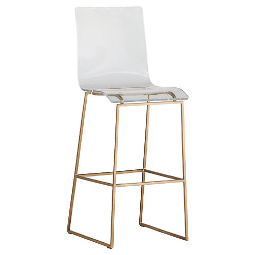 King Barstool, Antiqued Gold/Clear