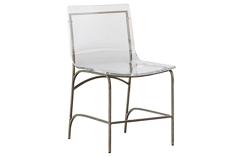 Penelope Side Chair, Clear/Antiqued Silver