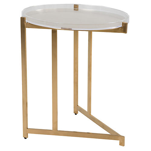 Skylar Acrylic Side Table, Clear/Gold