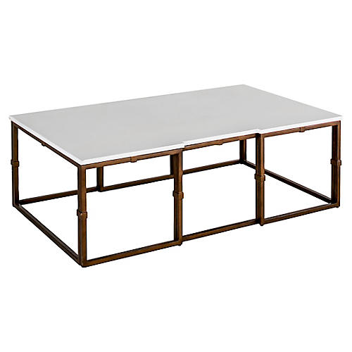 Stevens Coffee Table, Antiqued Brass